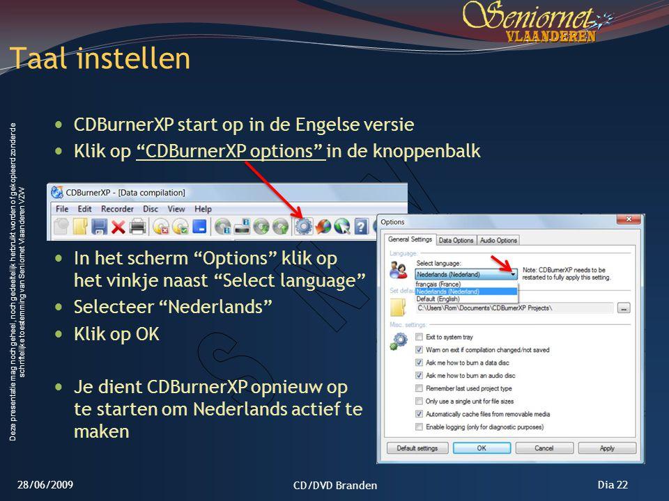 Taal instellen CDBurnerXP start op in de Engelse versie