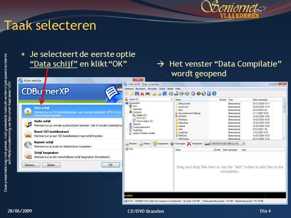Taak selecteren Je selecteert de eerste optie Data schijf en klikt OK  Het venster Data Compilatie wordt geopend.