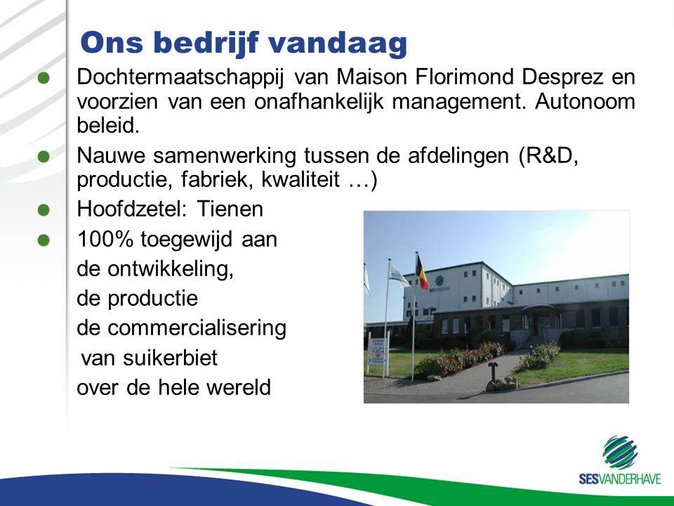 Ons bedrijf vandaag Dochtermaatschappij van Maison Florimond Desprez en voorzien van een onafhankelijk management. Autonoom beleid.