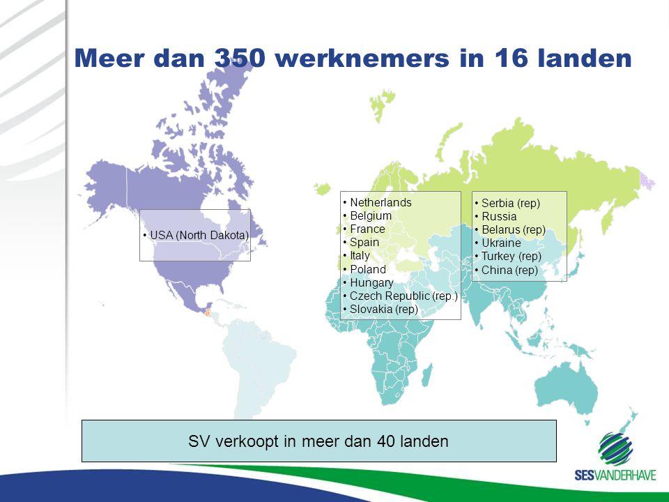 Meer dan 350 werknemers in 16 landen