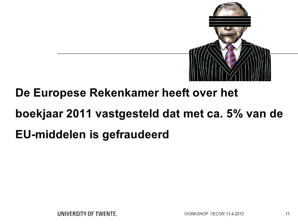 De Europese Rekenkamer heeft over het boekjaar 2011 vastgesteld dat met ca. 5% van de EU-middelen is gefraudeerd