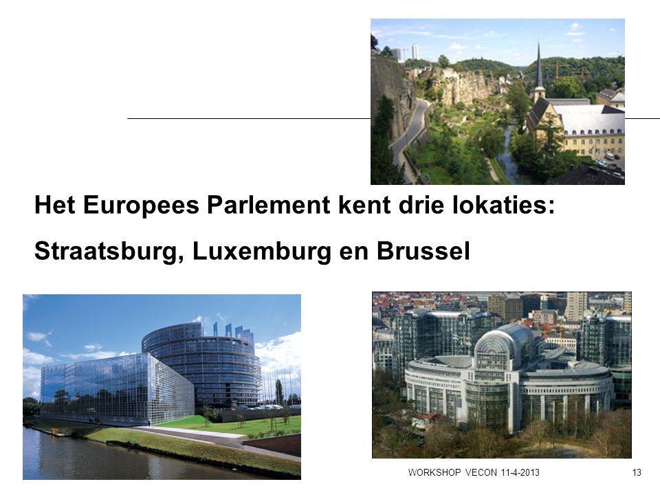 Het Europees Parlement kent drie lokaties: Straatsburg, Luxemburg en Brussel