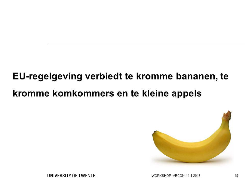 EU-regelgeving verbiedt te kromme bananen, te kromme komkommers en te kleine appels