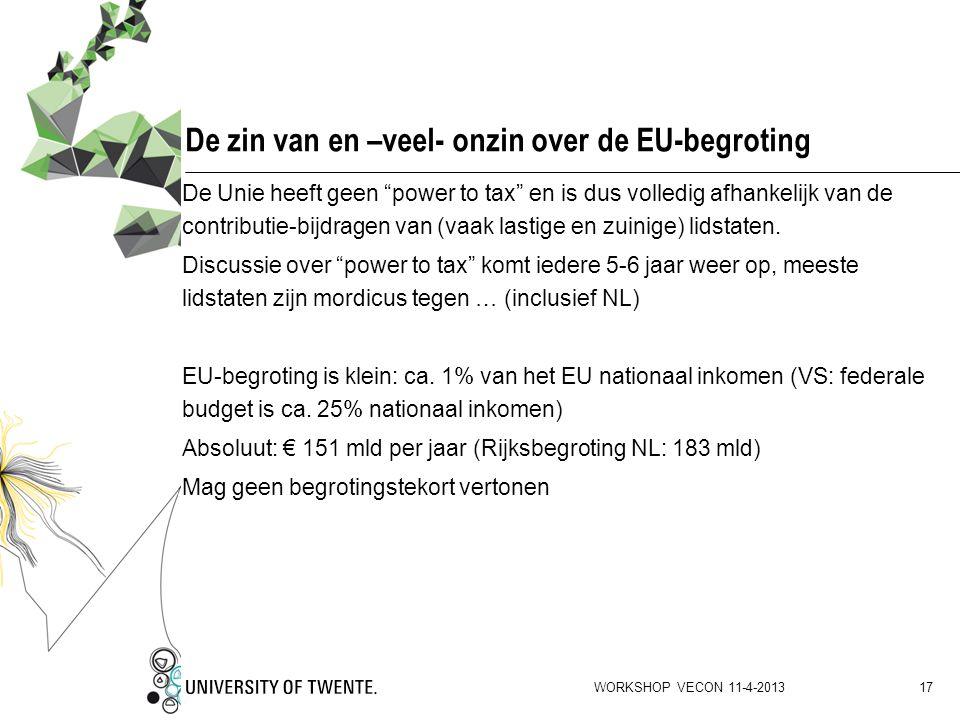 De zin van en –veel- onzin over de EU-begroting