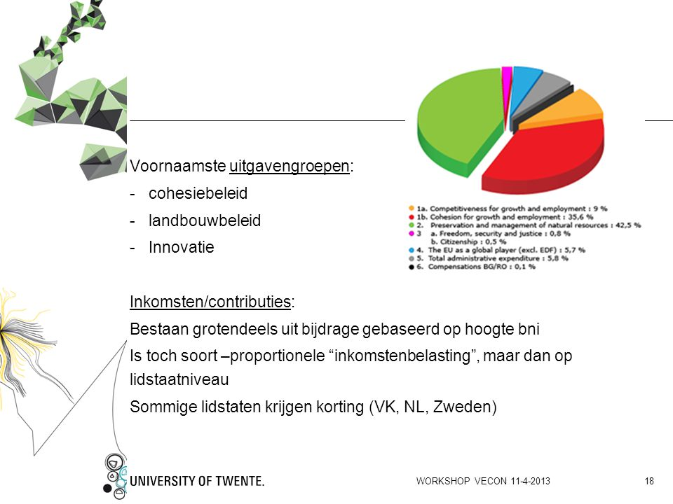Voornaamste uitgavengroepen: cohesiebeleid landbouwbeleid Innovatie