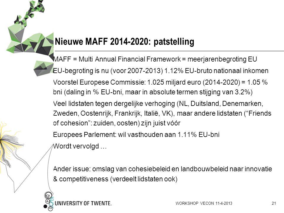 Nieuwe MAFF 2014-2020: patstelling