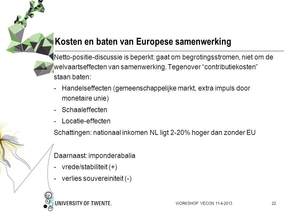 Kosten en baten van Europese samenwerking
