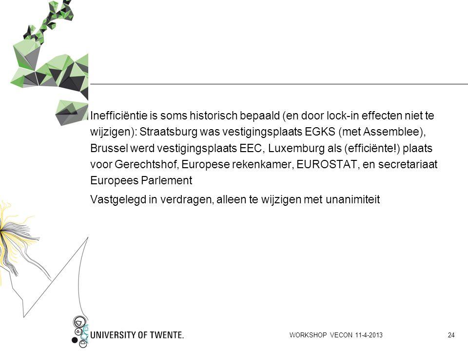 Inefficiëntie is soms historisch bepaald (en door lock-in effecten niet te wijzigen): Straatsburg was vestigingsplaats EGKS (met Assemblee), Brussel werd vestigingsplaats EEC, Luxemburg als (efficiënte!) plaats voor Gerechtshof, Europese rekenkamer, EUROSTAT, en secretariaat Europees Parlement Vastgelegd in verdragen, alleen te wijzigen met unanimiteit