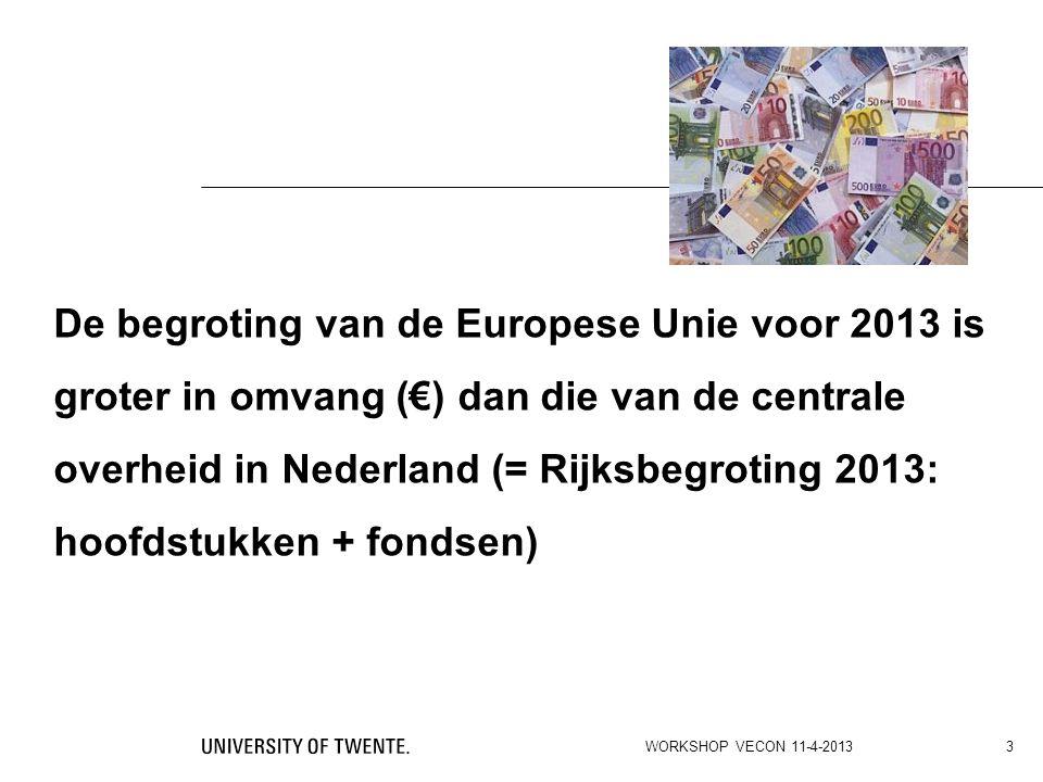 De begroting van de Europese Unie voor 2013 is groter in omvang (€) dan die van de centrale overheid in Nederland (= Rijksbegroting 2013: hoofdstukken + fondsen)