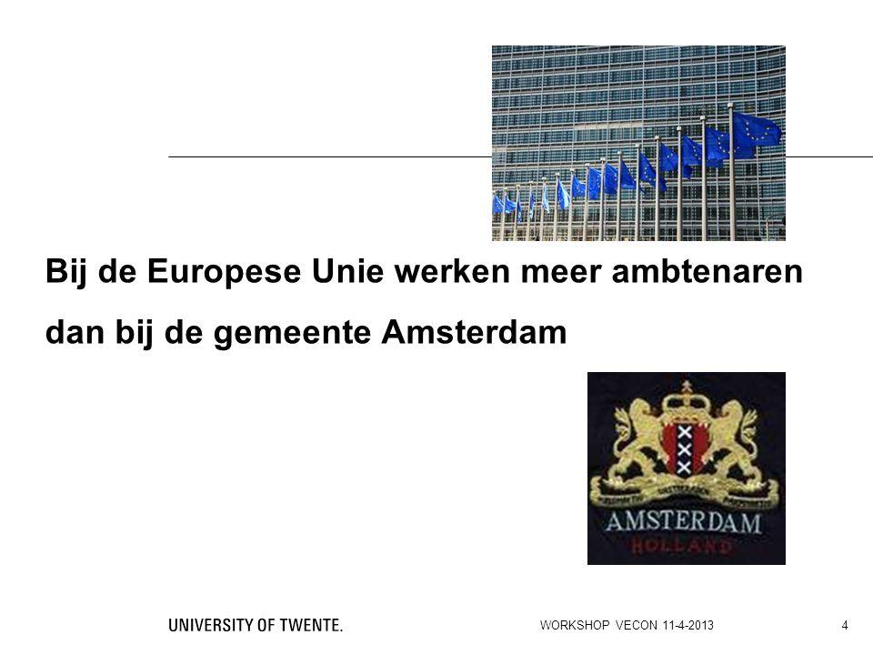 Bij de Europese Unie werken meer ambtenaren dan bij de gemeente Amsterdam