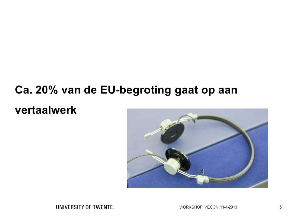 Ca. 20% van de EU-begroting gaat op aan vertaalwerk