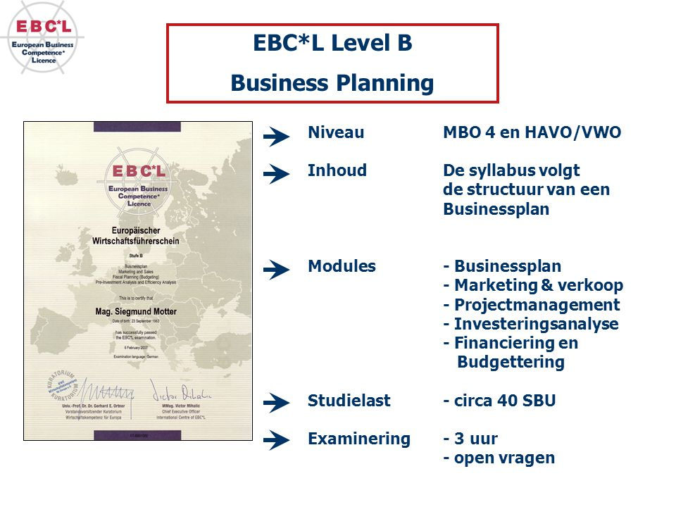 EBC*L Level B Business Planning