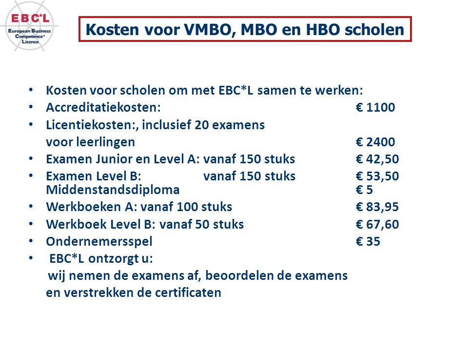 Kosten voor VMBO, MBO en HBO scholen