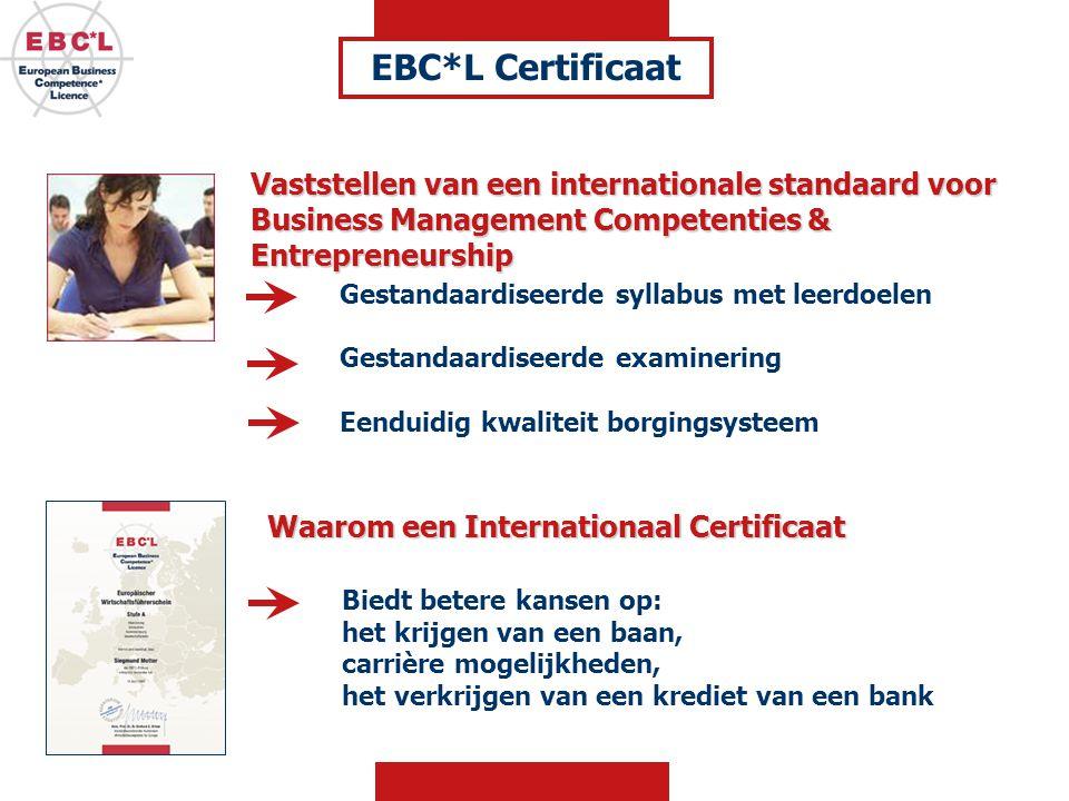 EBC*L Certificaat Vaststellen van een internationale standaard voor Business Management Competenties & Entrepreneurship.