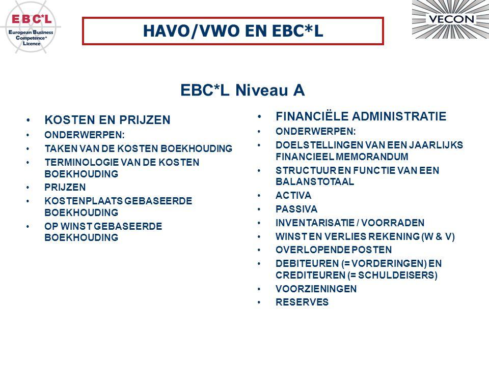 HAVO/VWO EN EBC*L EBC*L Niveau A FINANCIËLE ADMINISTRATIE