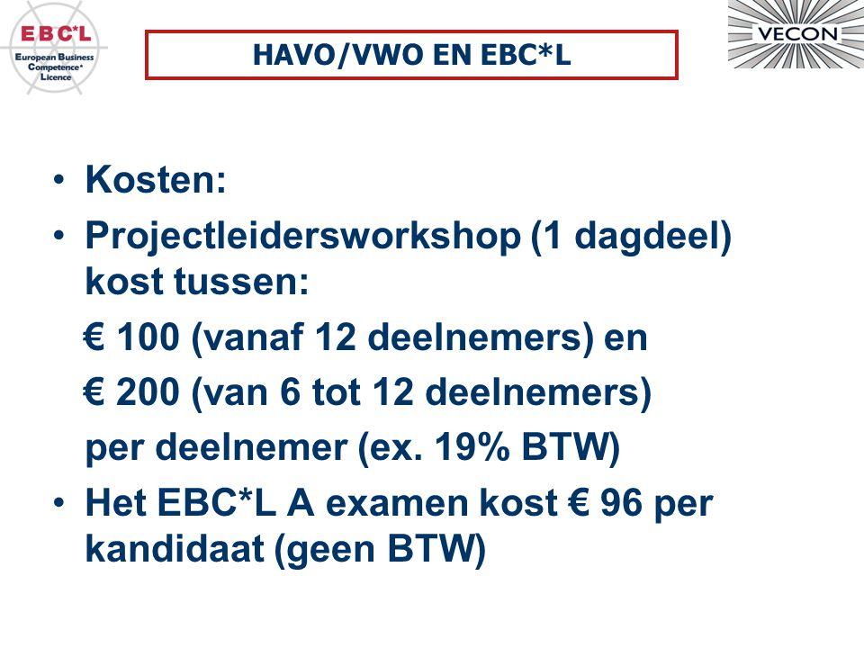 Projectleidersworkshop (1 dagdeel) kost tussen:
