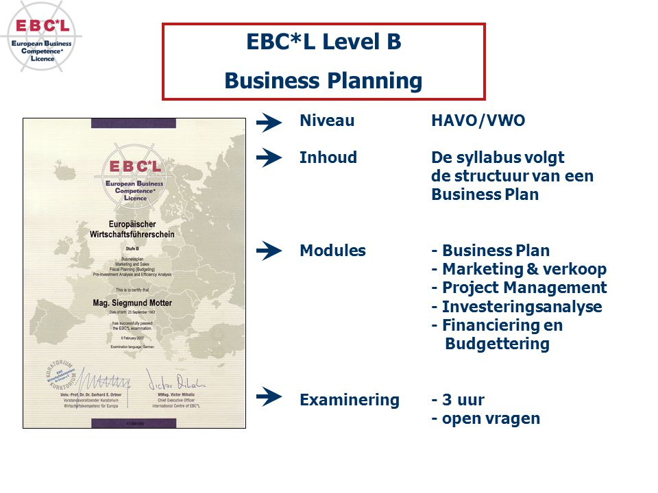 EBC*L Level B Business Planning