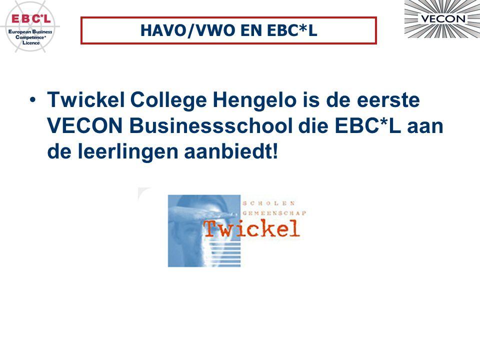 HAVO/VWO EN EBC*L Twickel College Hengelo is de eerste VECON Businessschool die EBC*L aan de leerlingen aanbiedt!