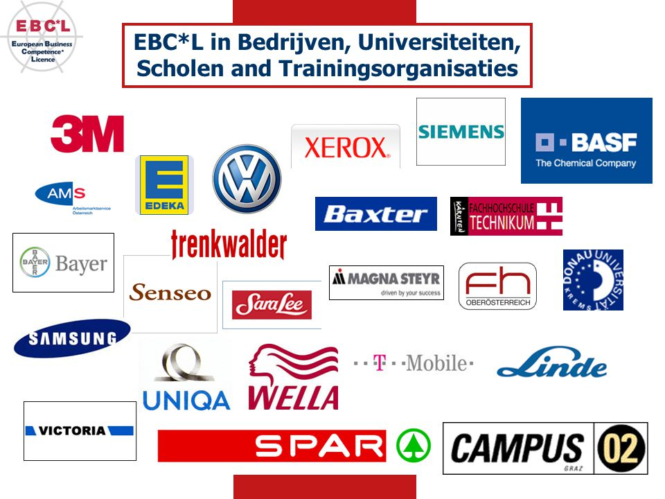 EBC*L in Bedrijven, Universiteiten, Scholen and Trainingsorganisaties