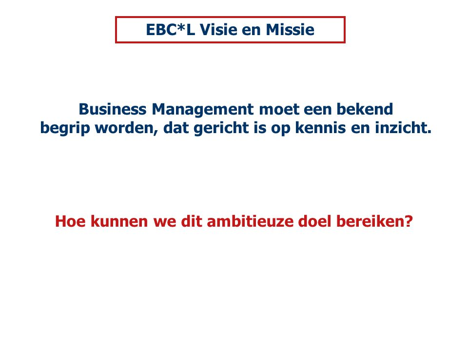 Business Management moet een bekend