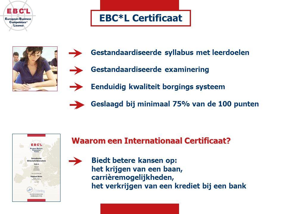 EBC*L Certificaat Waarom een Internationaal Certificaat