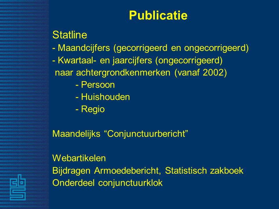 Publicatie Statline - Maandcijfers (gecorrigeerd en ongecorrigeerd)