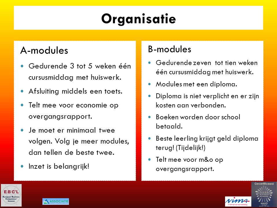 Organisatie A-modules B-modules
