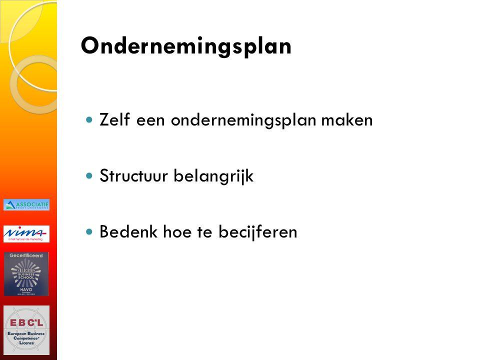 Ondernemingsplan Zelf een ondernemingsplan maken Structuur belangrijk