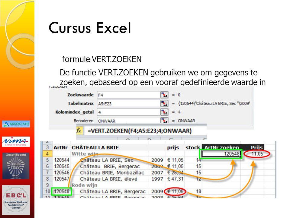 Cursus Excel formule VERT.ZOEKEN