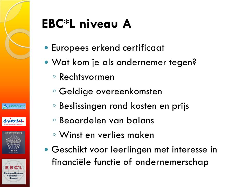 EBC*L niveau A Europees erkend certificaat