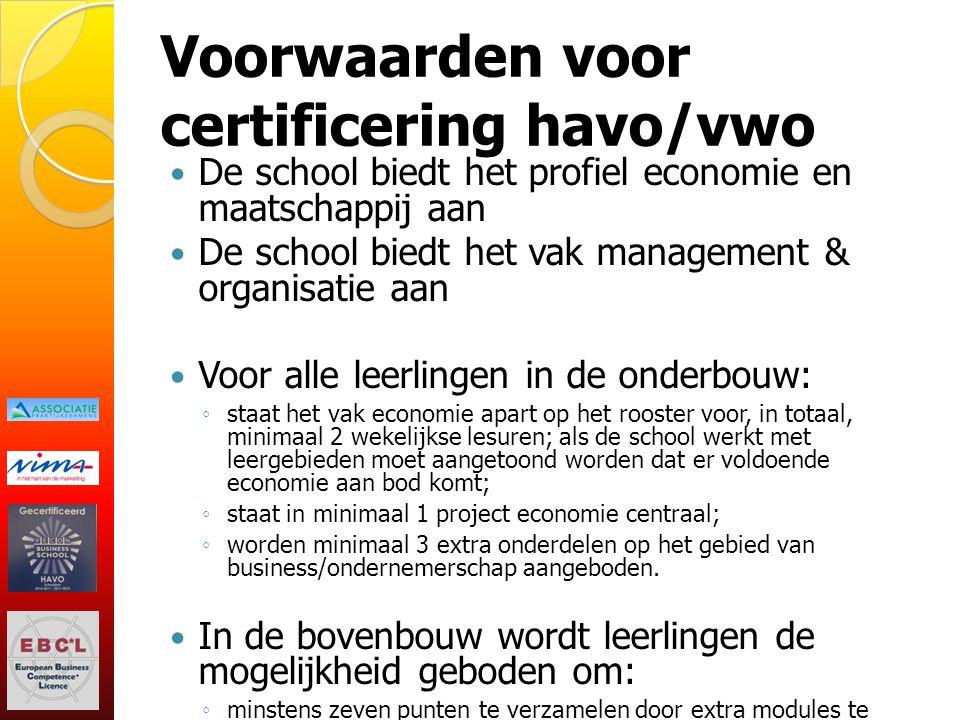 Voorwaarden voor certificering havo/vwo
