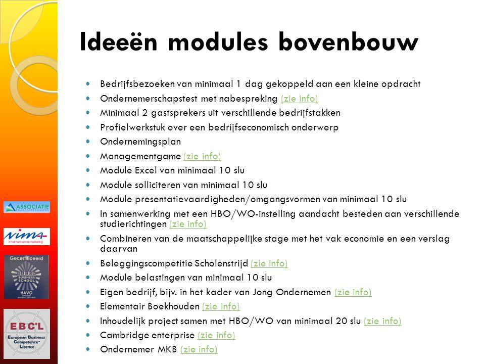Ideeën modules bovenbouw