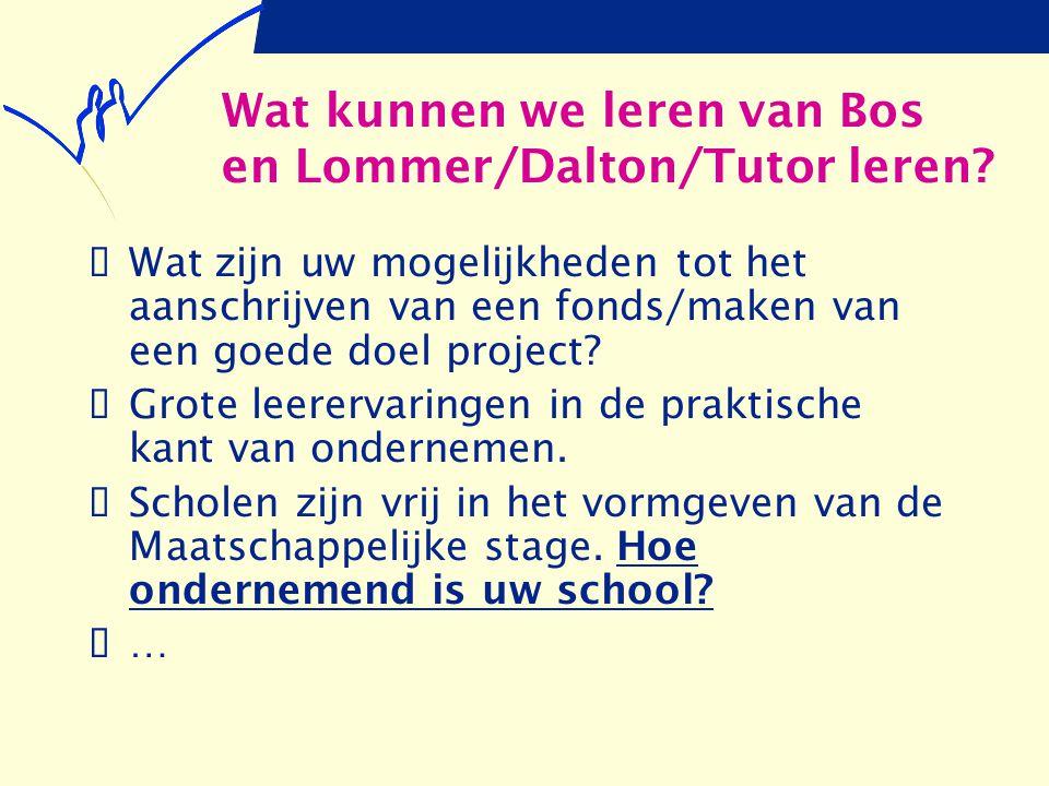 Wat kunnen we leren van Bos en Lommer/Dalton/Tutor leren