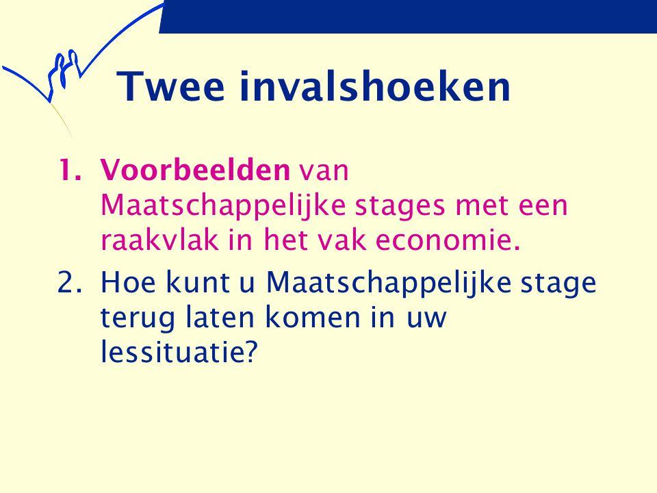 Twee invalshoeken Voorbeelden van Maatschappelijke stages met een raakvlak in het vak economie.
