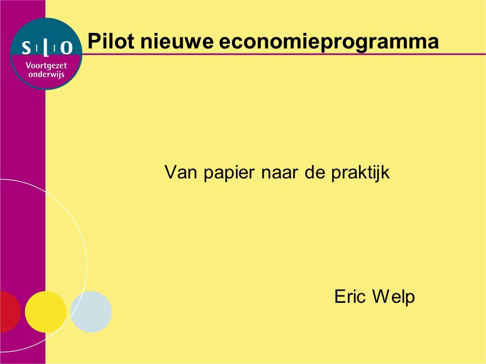 Pilot nieuwe economieprogramma