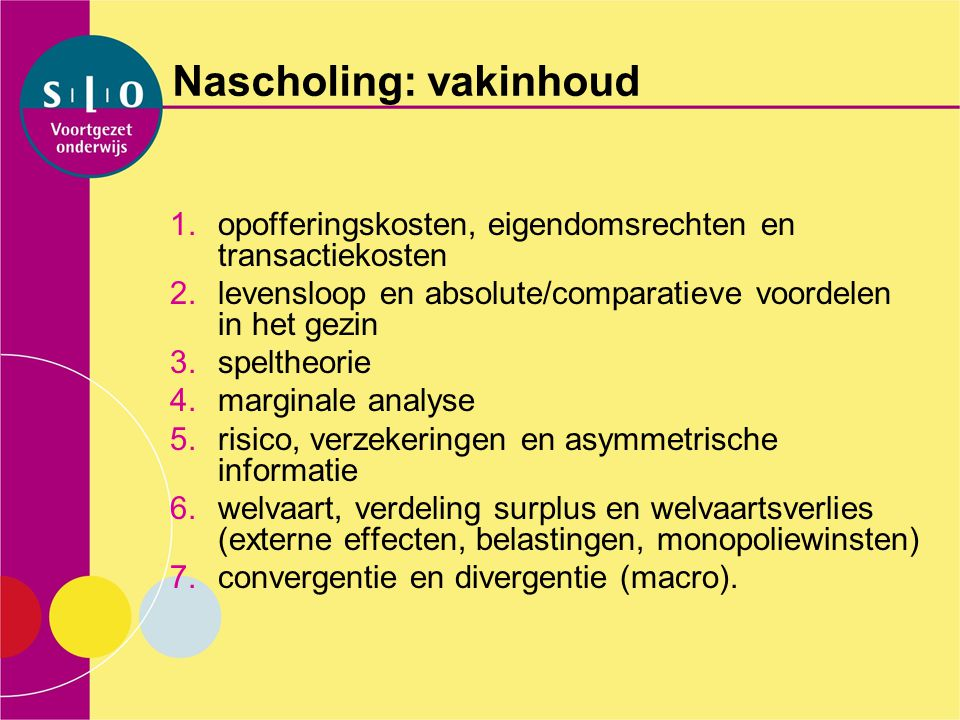 Nascholing: vakinhoud
