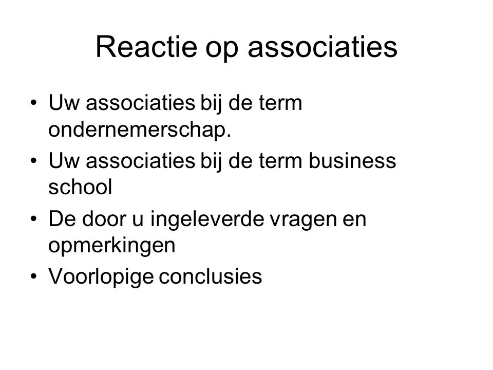 Reactie op associaties