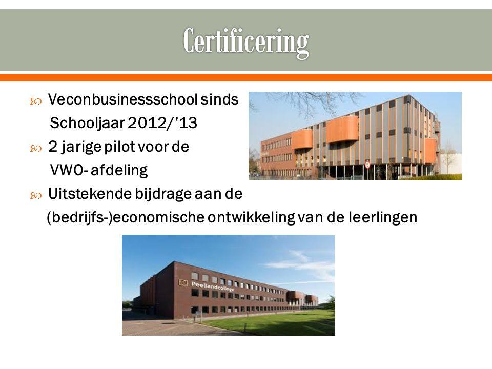 Certificering Veconbusinessschool sinds Schooljaar 2012/'13