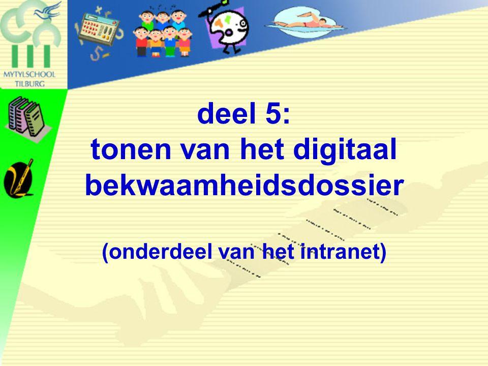 31 mei 2006 deel 5: tonen van het digitaal bekwaamheidsdossier (onderdeel van het intranet) conferentie Opleiden in School.