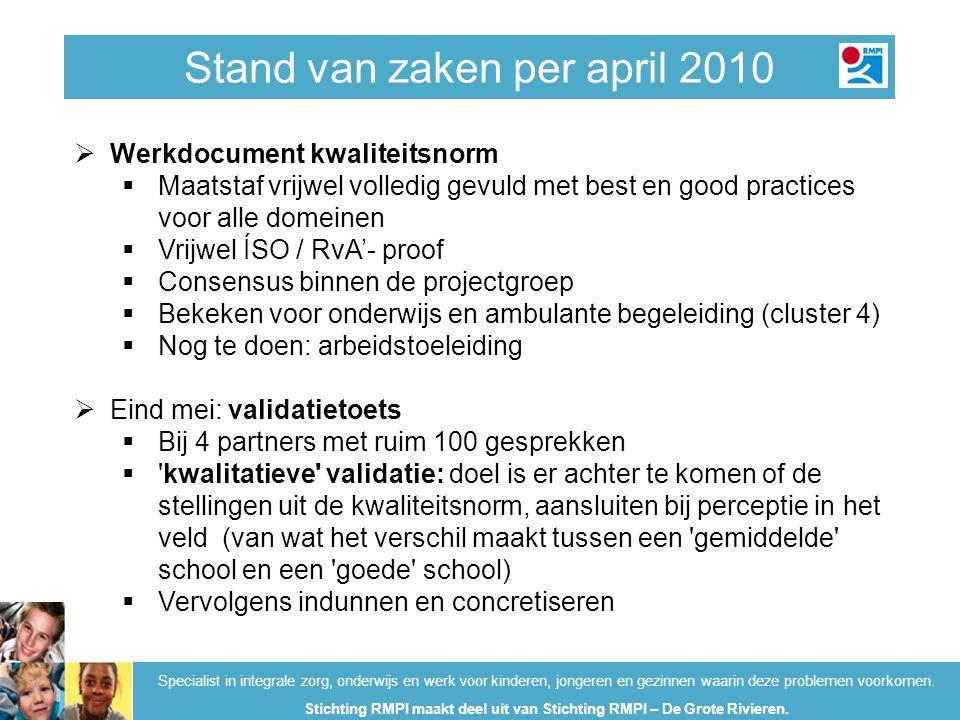 Stand van zaken per april 2010