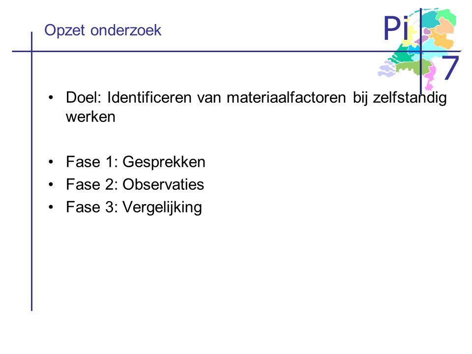 Opzet onderzoek Doel: Identificeren van materiaalfactoren bij zelfstandig werken. Fase 1: Gesprekken.