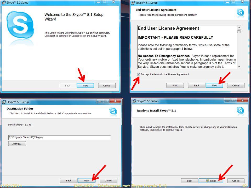 11/01/2011 SNVL/MVV - Telefoneren met Skype (versie 5.1)