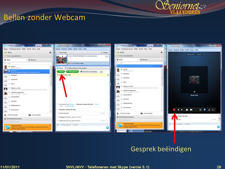 Bellen zonder Webcam Gesprek beëindigen 11/01/2011
