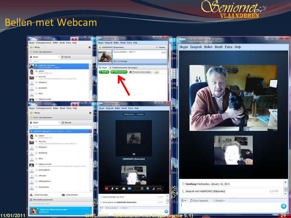 Bellen met Webcam 11/01/2011 SNVL/MVV - Telefoneren met Skype (versie 5.1)