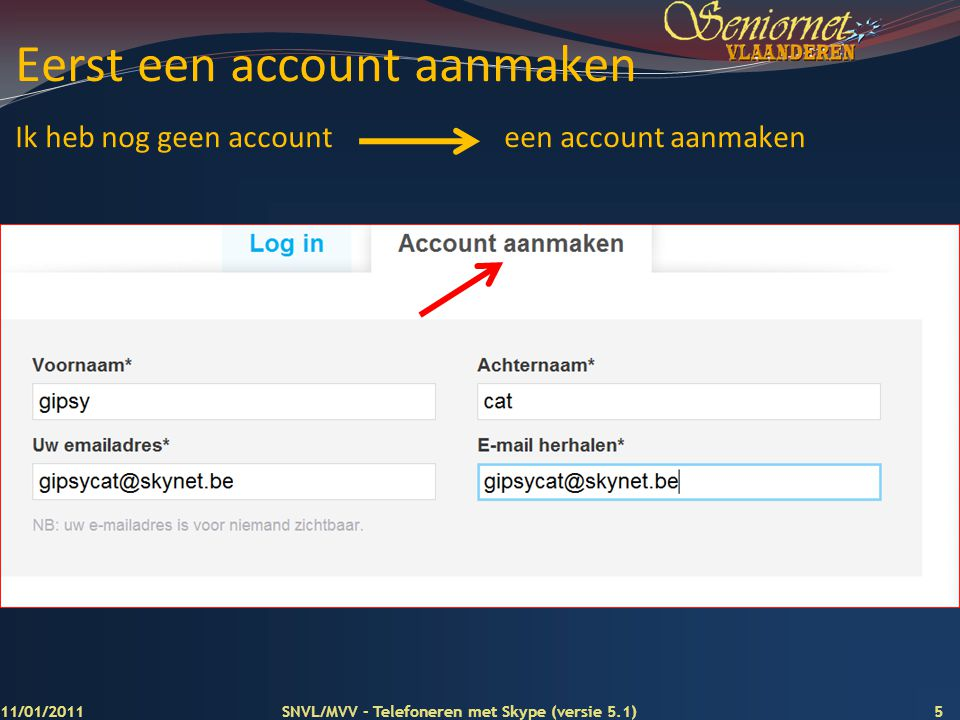 Eerst een account aanmaken