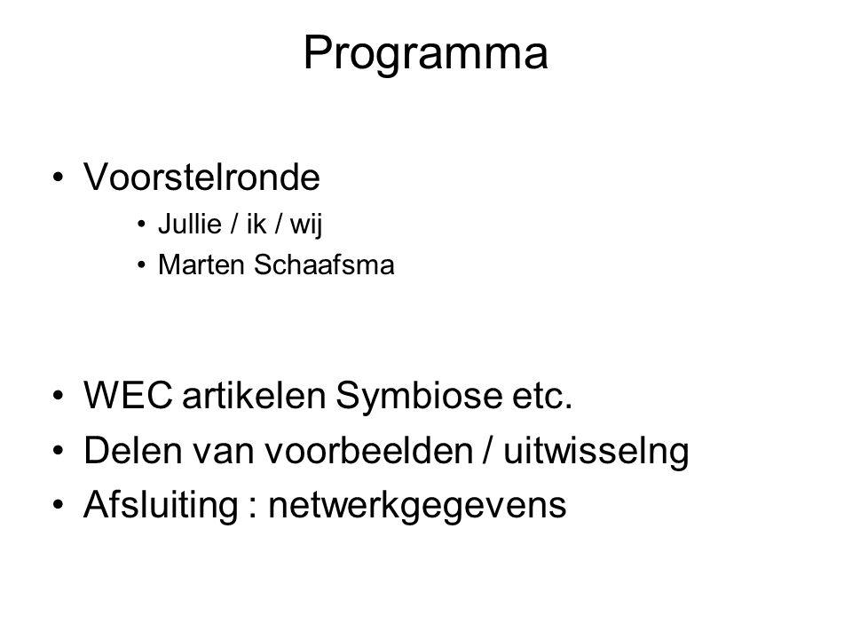Programma Voorstelronde WEC artikelen Symbiose etc.