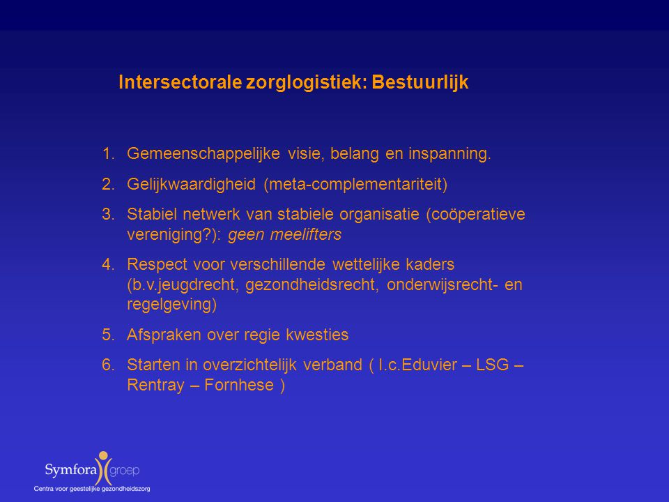 Intersectorale zorglogistiek: Bestuurlijk