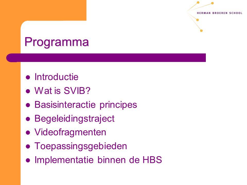 Programma Introductie Wat is SVIB Basisinteractie principes