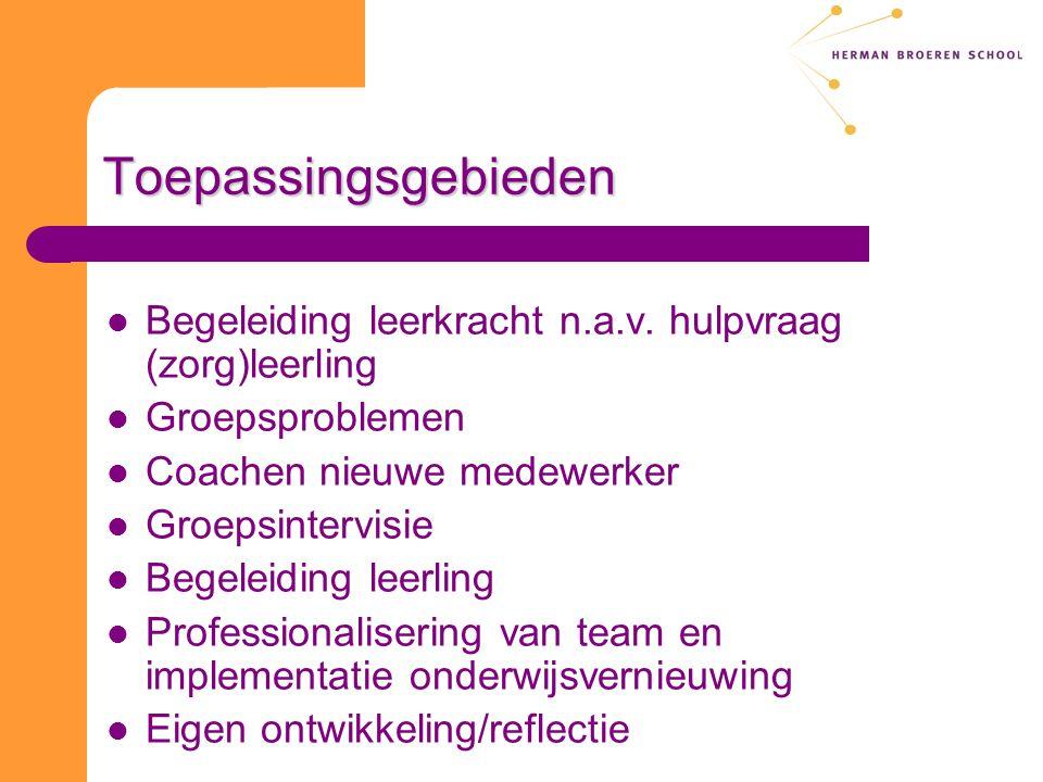 Toepassingsgebieden Begeleiding leerkracht n.a.v. hulpvraag (zorg)leerling. Groepsproblemen. Coachen nieuwe medewerker.