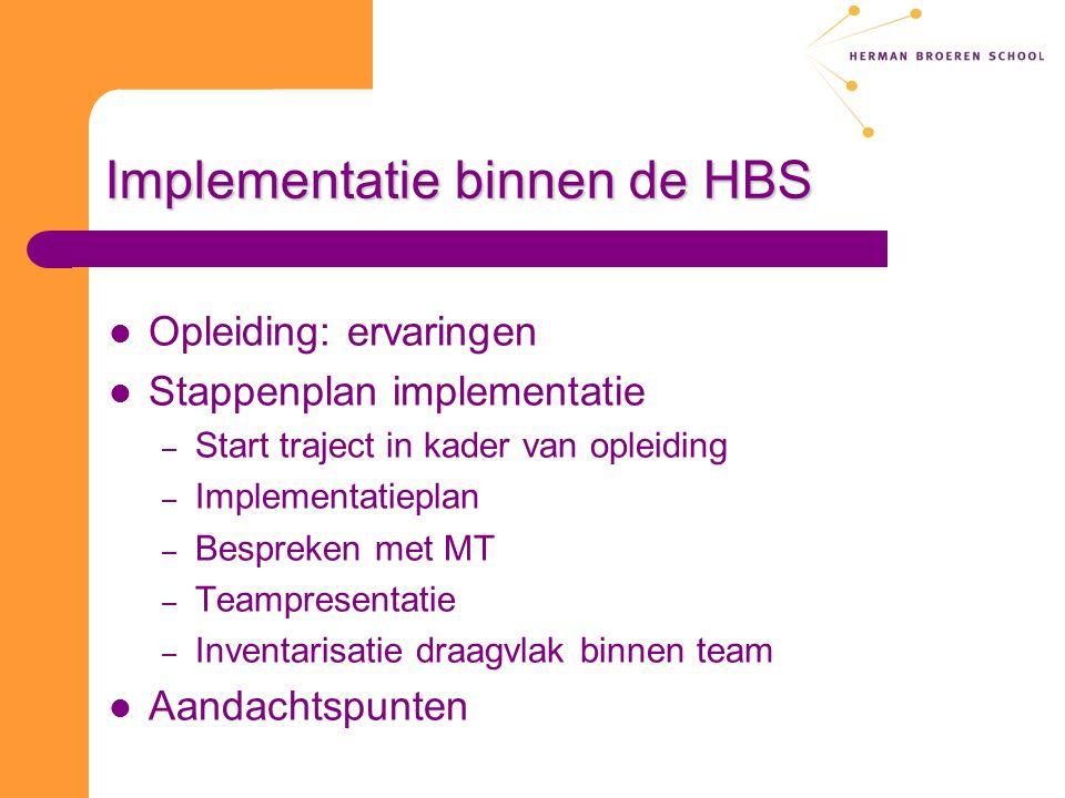 Implementatie binnen de HBS